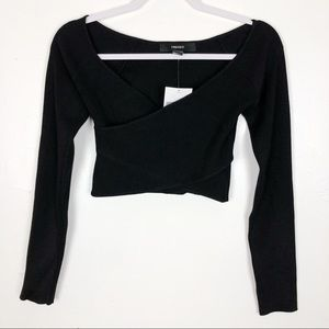 Forever 21 Black Criss Cross Long Sleeve Crop Top